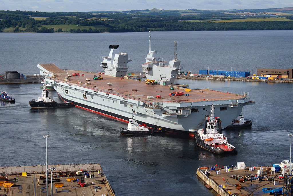 The HMS Queen Elizabeth, floating for the first time in 2014 at the drydock in Rosyth near Edinburgh.