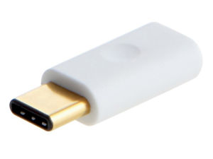 One of the offending micro-USB-to-Type-C adaptors that lacks the necessary hardware to comply with the Type C 1.1 spec.