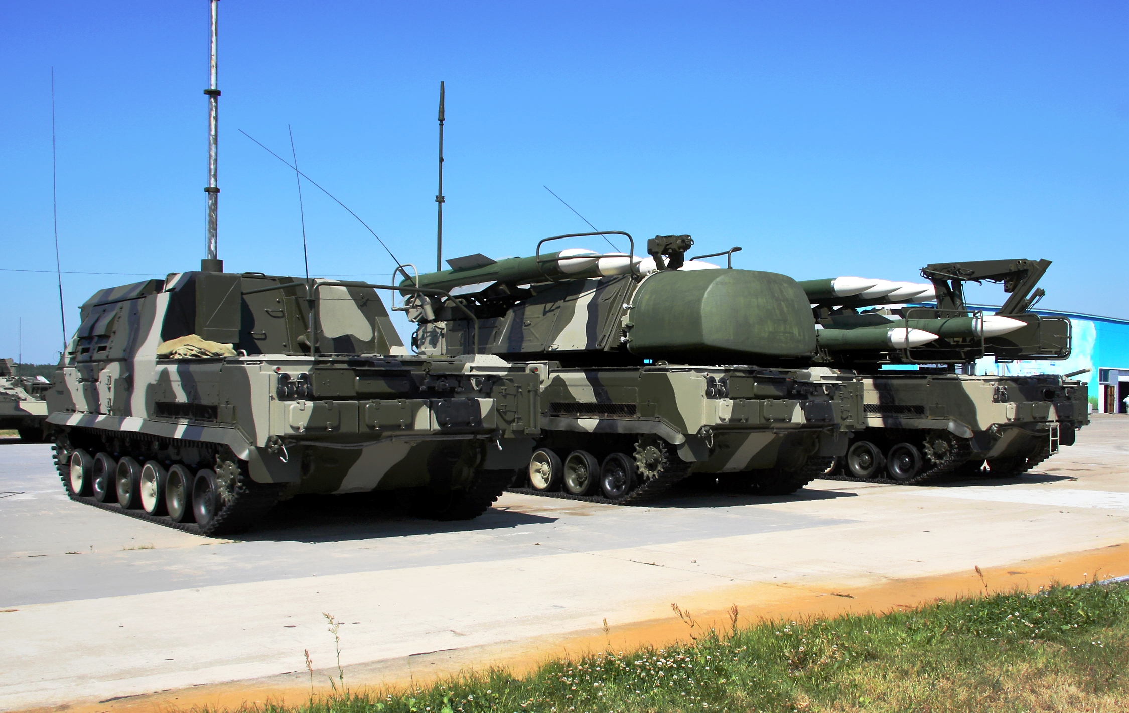 "The Russian ""Buk"" air defence system. The vehicle on the left is the ""command vehicle,"" which helps target the missiles."