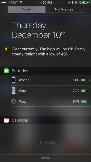 The case's battery charge is relayed through the Batteries widget in the Notification Center, along with Bluetooth devices.