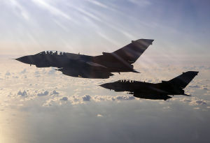 Two RAF Tornados, pictured over the Mediterranean Sea enroute to Libya as part of the UK's Operation Ellamy.