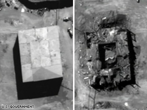 The Syrian nuclear reactor, before and after the Israeli strike in 2007.