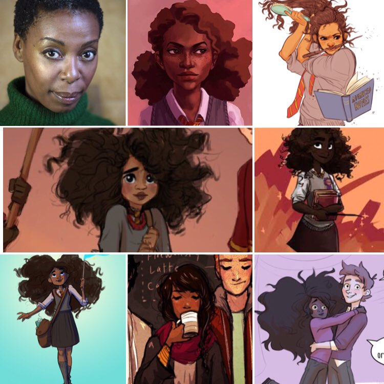 There is already plenty of Harry Potter fan art depicting a black Hermione. Look at how cute she is!