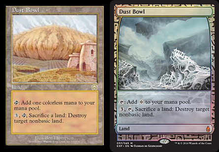 "The original Dust Bowl vs. the new Dust Bowl. Note the new symbol that replaces ""colorless mana."" The art style has changed a little over the years, too..."