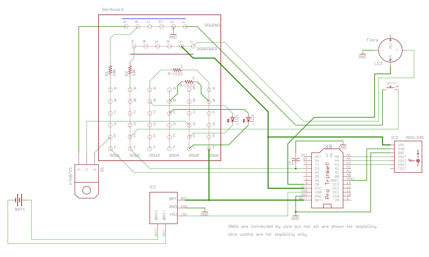 The wiring schematic of the Netflix sock.