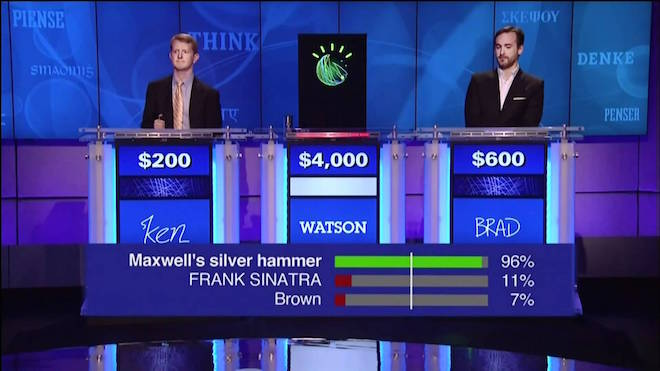 Watson, competing on the game show Jeopardy. The bars at the bottom show its confidence in each answer. If no answer passes the confidence threshold (the white line), Watson doesn't respond.