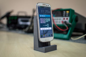 3D-printed cradle that houses the current prototype of the XE case
