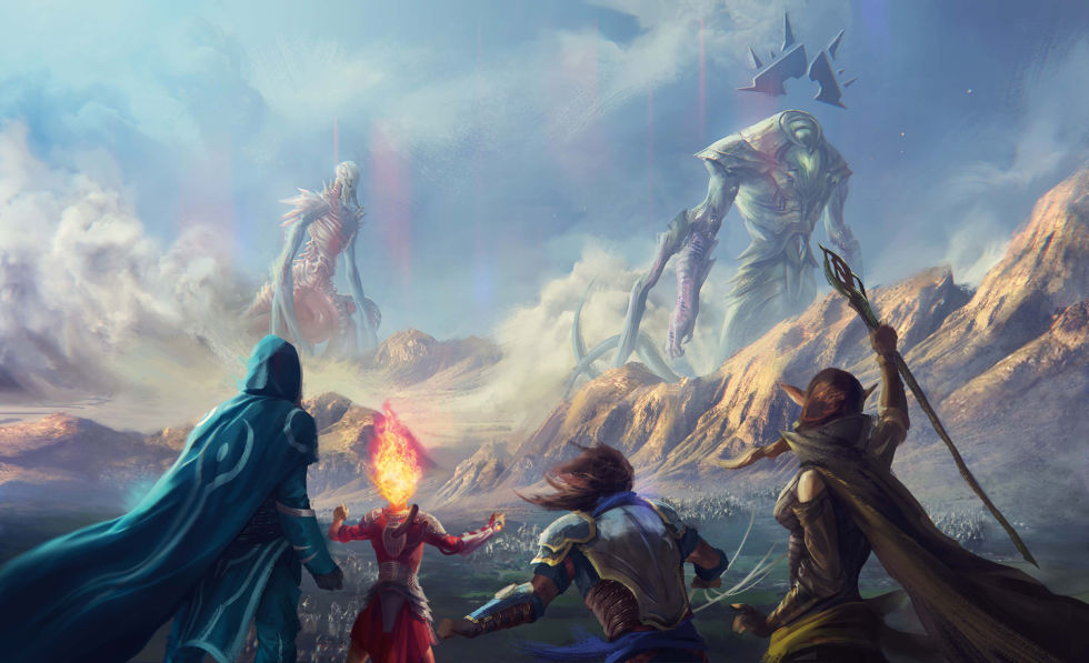 Here's a feel-good image of the Planeswalker heroes about to do battle with the Eldrazi Ulamog and Kozilek.