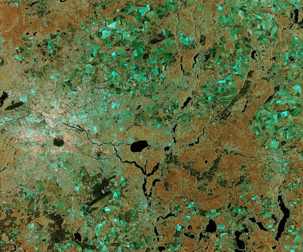 A view of Berlin, as seen by the Sentinel-1A satellite—one of the satellites that will use ESA's new EDRS system.