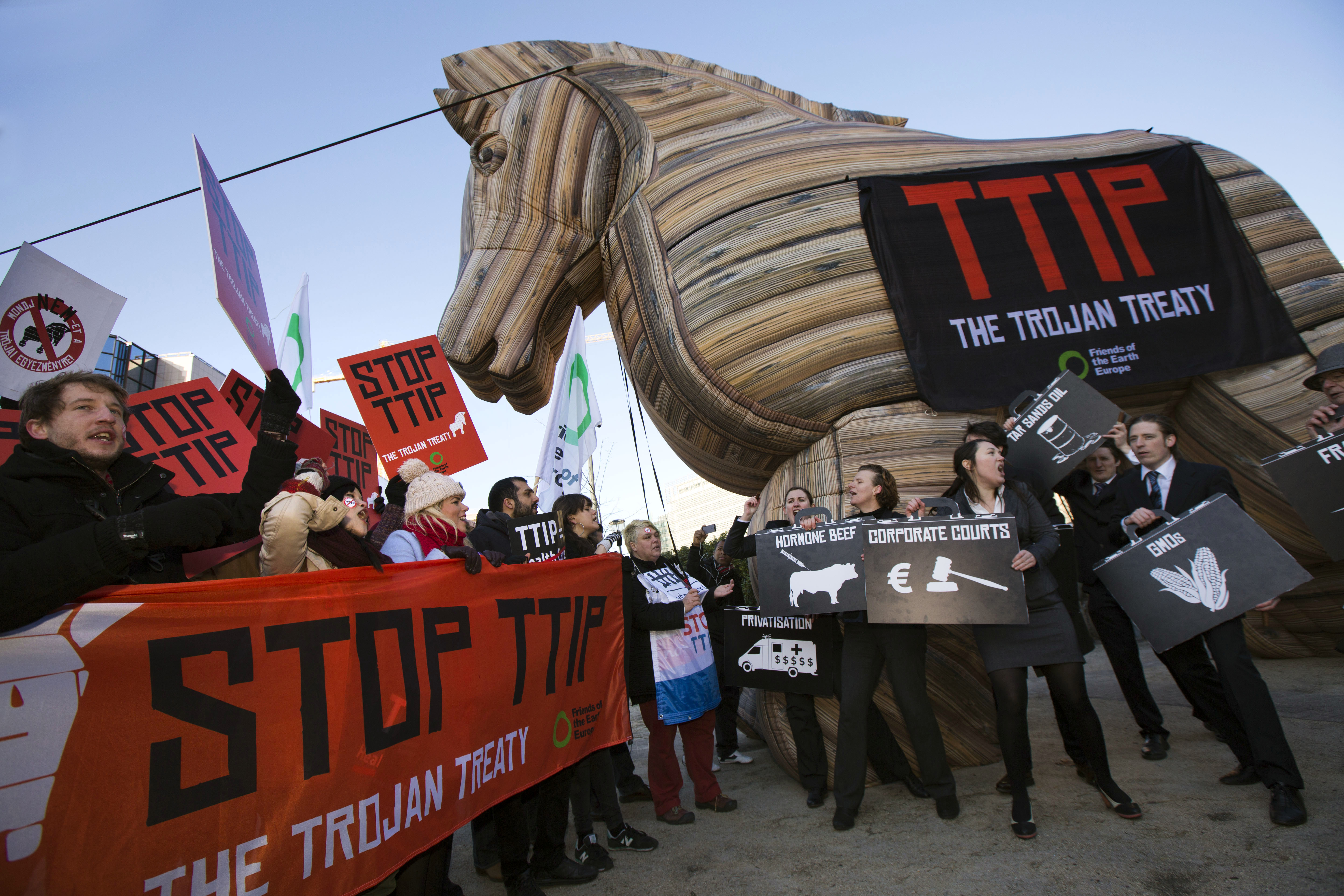 One of the slightly more theatrical TTIP protests.