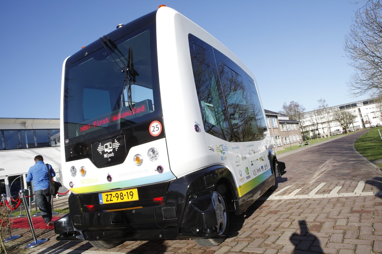 WePod driverless bus on a street in Wageningen, The Netherlands