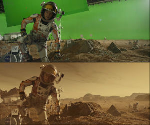 A before-and-after from <em>The Martian</em> showcasing some of MPC's work.