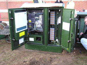 Inside an Openreach VDSL2 cabinet.
