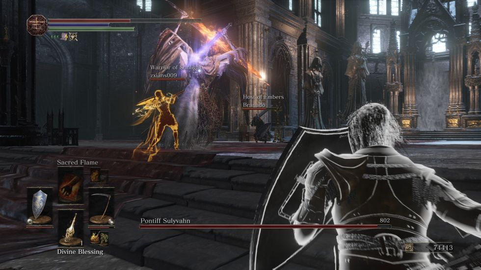 The Dancer's weapons are mentioned as being modelled after Pontiff Sulyvahn's own swords, one buffed by flame and one by deep, but the shapes and traces they leave in the air are markedly different.