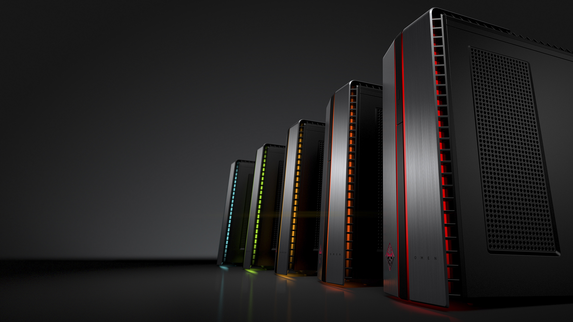 The HP Omen desktop showing off its LED illumination.