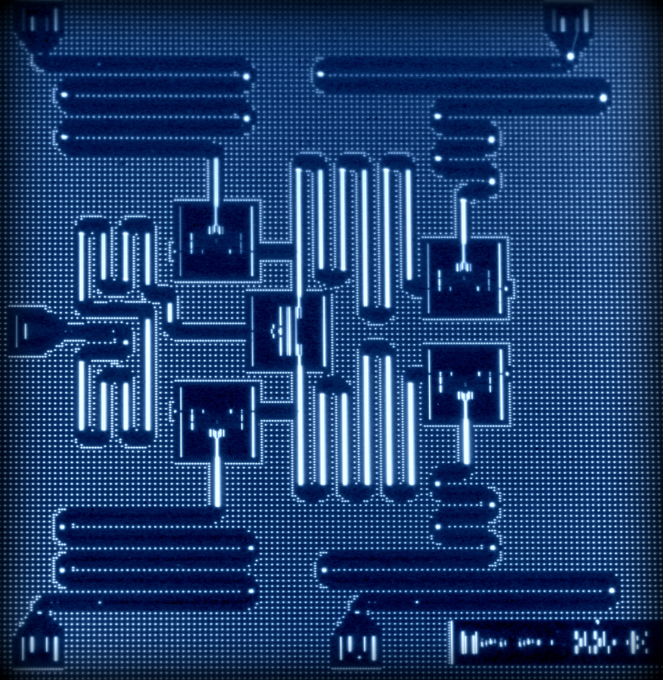 IBM's five-qubit chip, for comparison.