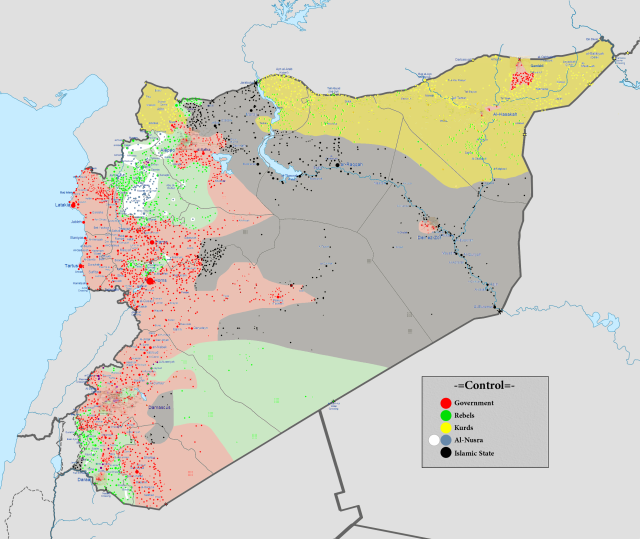 A map of war-torn Syria. Rojava is roughly the yellow region in the north.