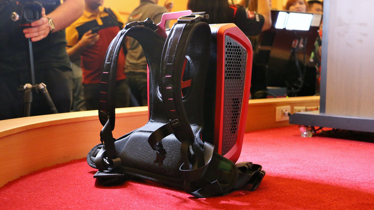 The rear of the MSI Backpack PC.