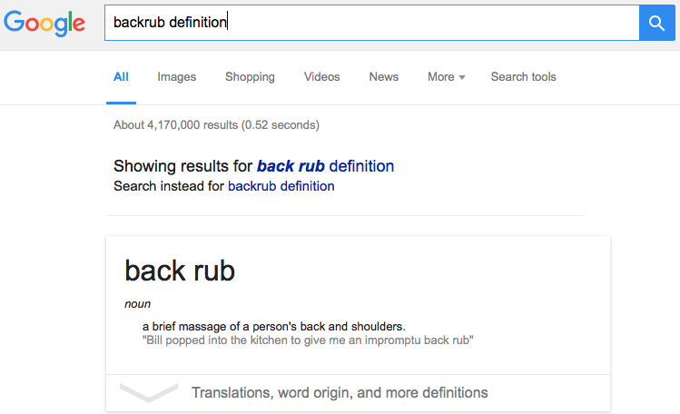 "Google's search result for ""backrub definition."""