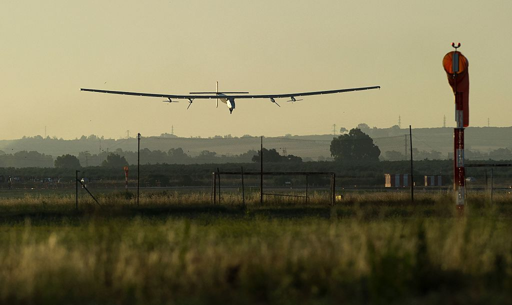 Solar Impulse 2 lands at Seville airport, Spain.