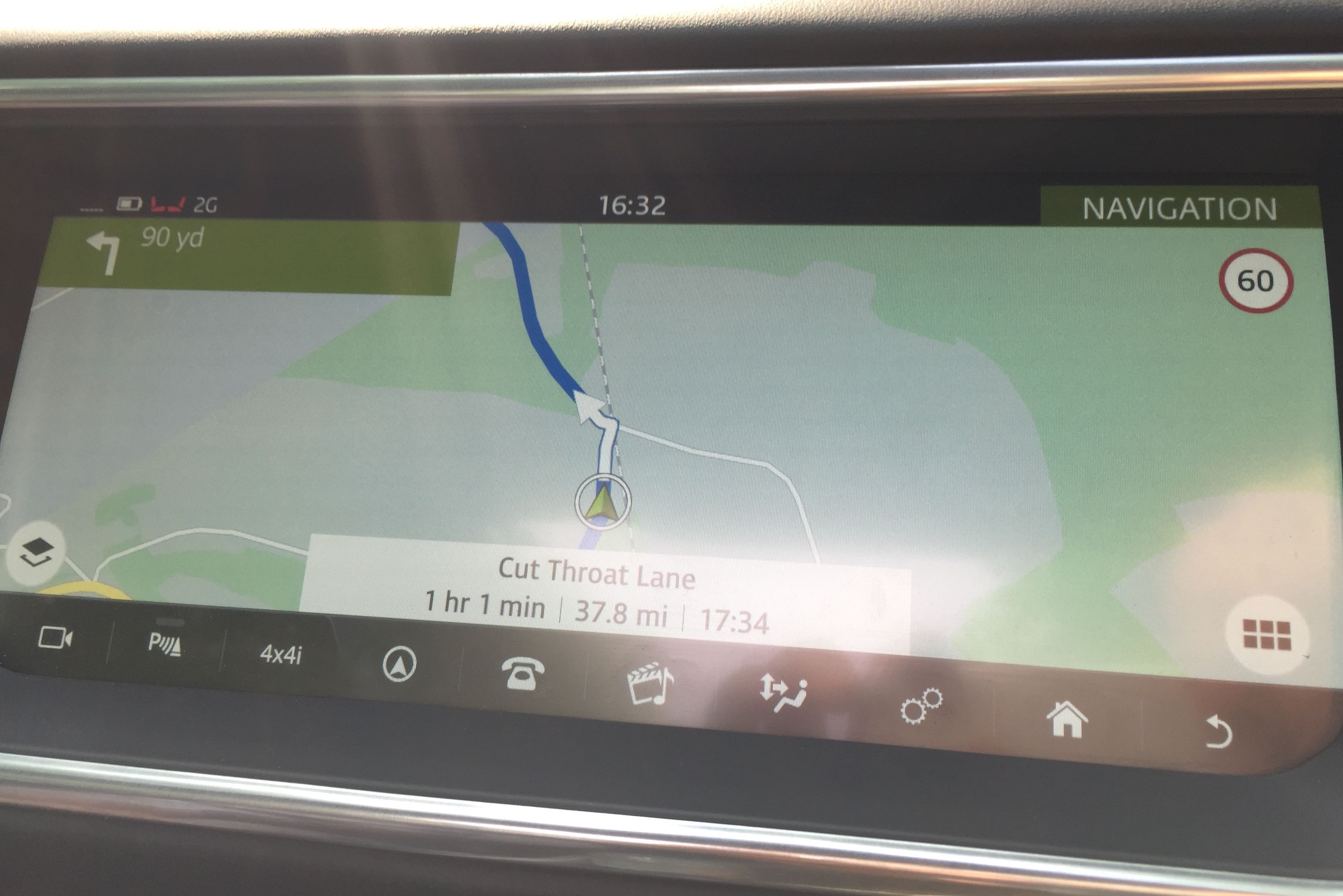The 10.2-inch InControl screen. I mostly took this photo because I liked the name of the road.