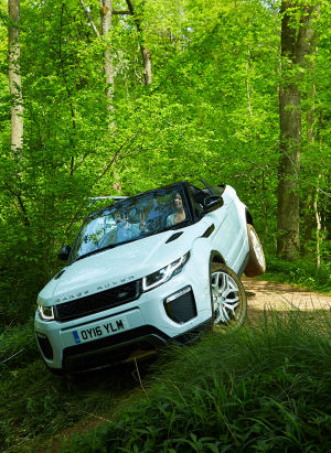 Look, the Evoque Convertible can actually go off-road! (That's me driving.)