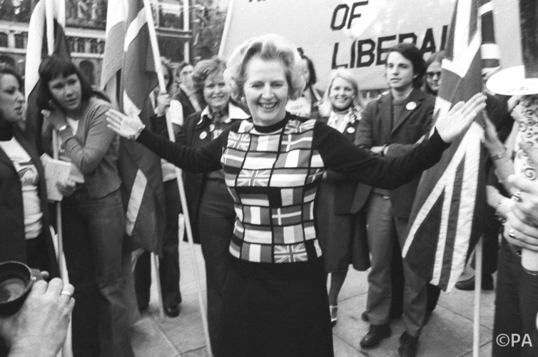 "Thatcher in the ""Yes to Europe"" campaign in 1975."