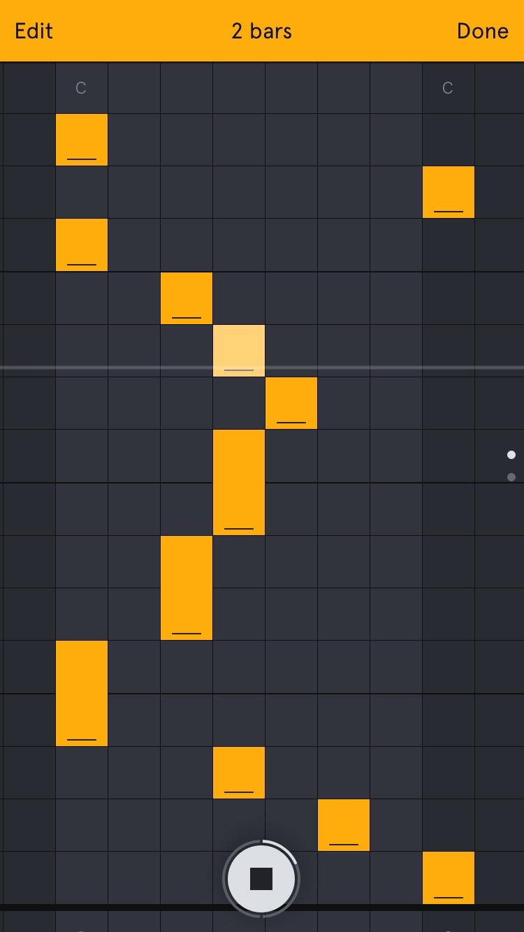 Auxy's editing grid.