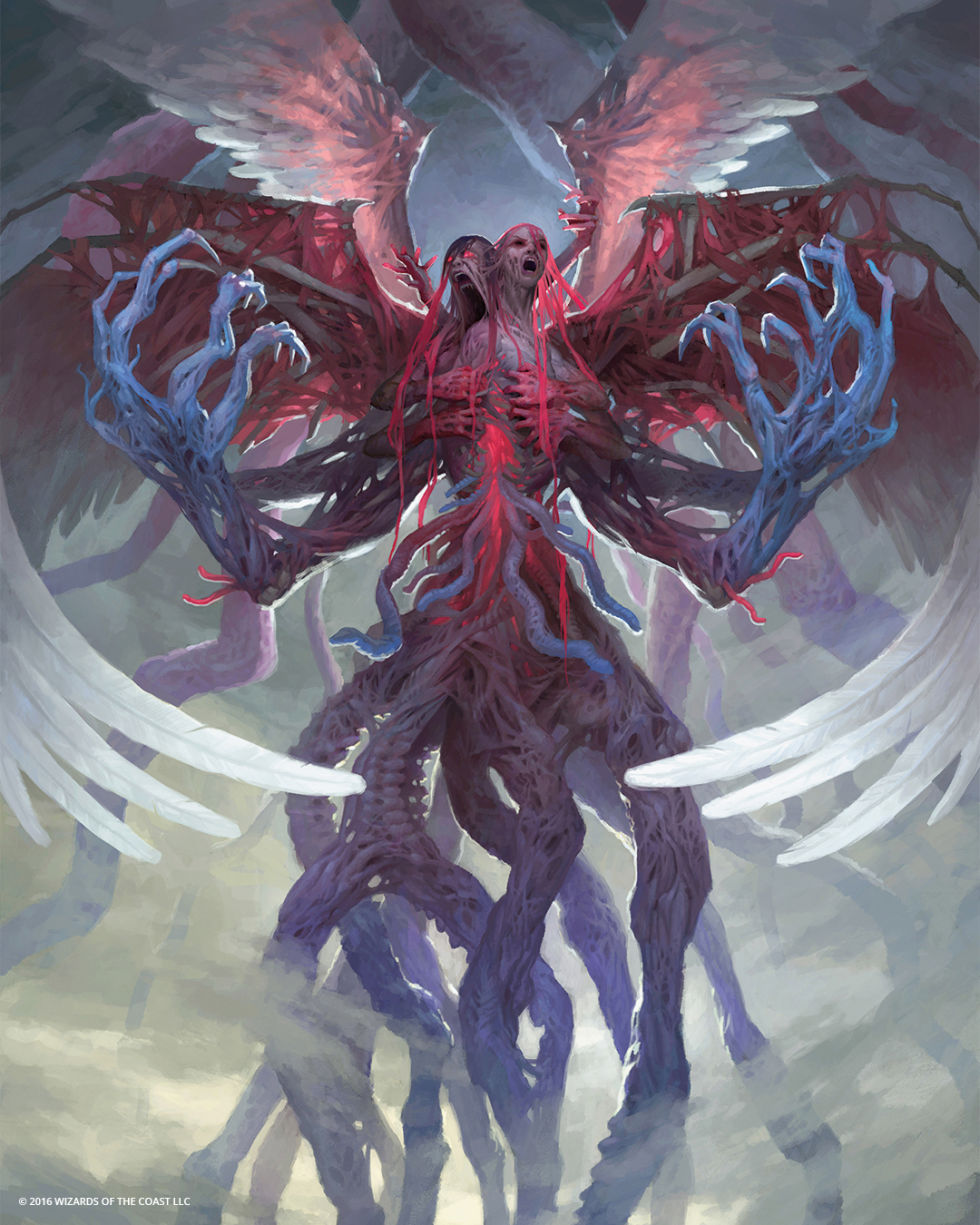 If you ever wondered what would happen if two angels were merged together using some wibbly-gribbly Eldrazi magic... now you know. Behold, Brisela, Voice of Nightmares.