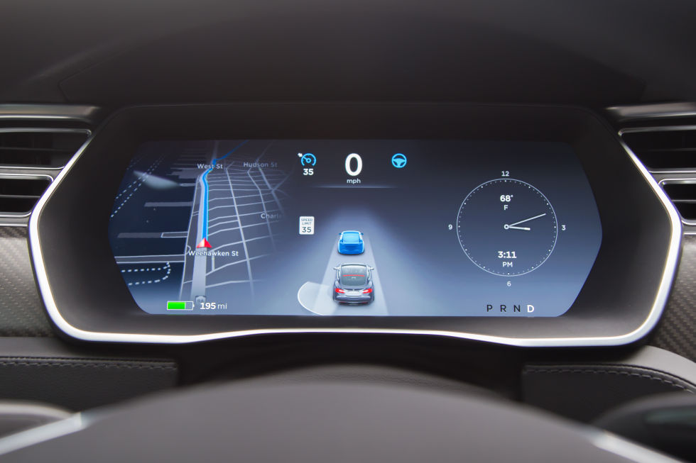 Here's what autopilot looks like when it's following the car in front, rather than using road markings.