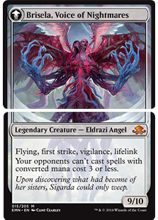 Here's the actual card; note that Brisela is actually the backsides of two different cards.