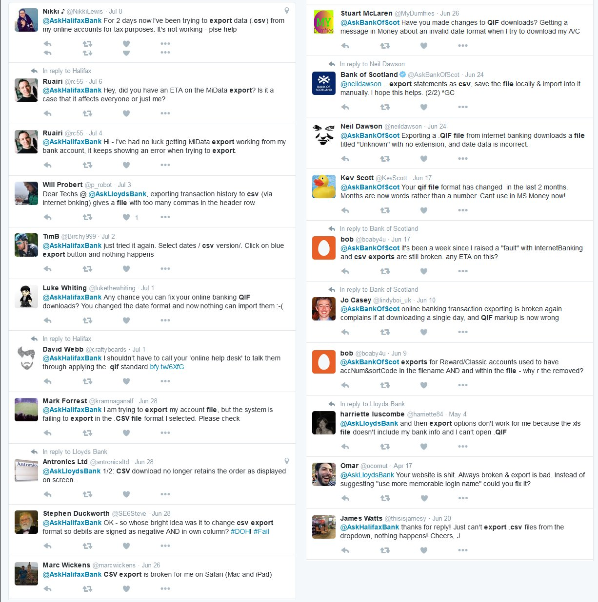 Some of the complaints made on Twitter to Lloyds Banking Group.
