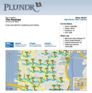 "A screenshot of <em>Plundr</em>, which used Wi-Fi hotspots to create ARG ""islands"" for pirates."