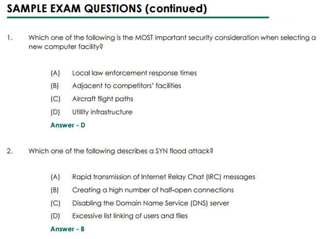Some sample CISSP exam questions.
