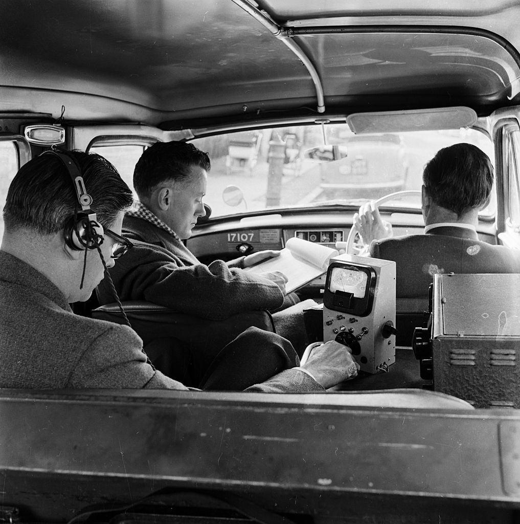 Inside a television detection van, 1956.