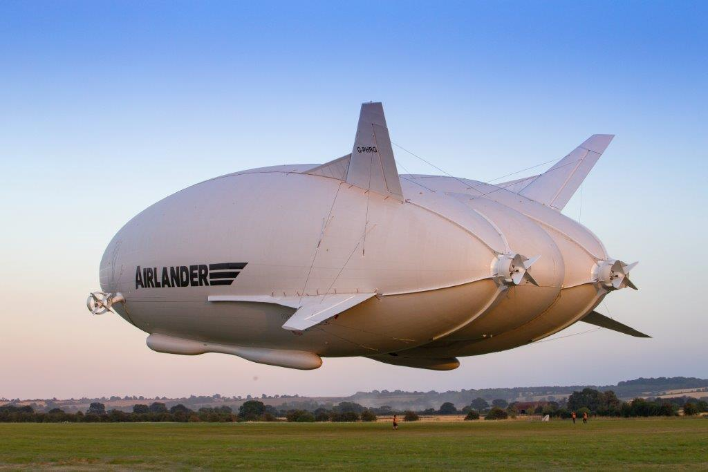 Airlander 10 taking off from Cardington Airfield.