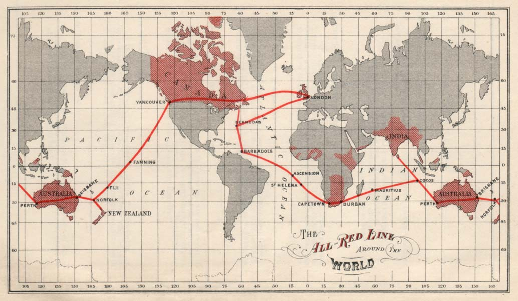 "The ""All Red Line""—the British Empire's submarine cable network, which was completed in 1902 with a cable across the Pacific."