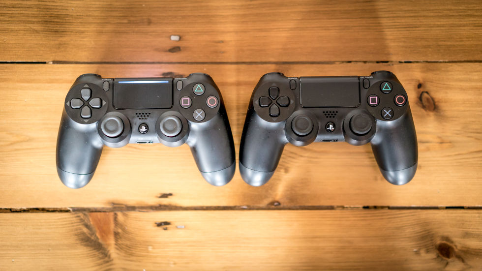 Updated DualShock 4 on the left, OG DualShock 4 on the right.