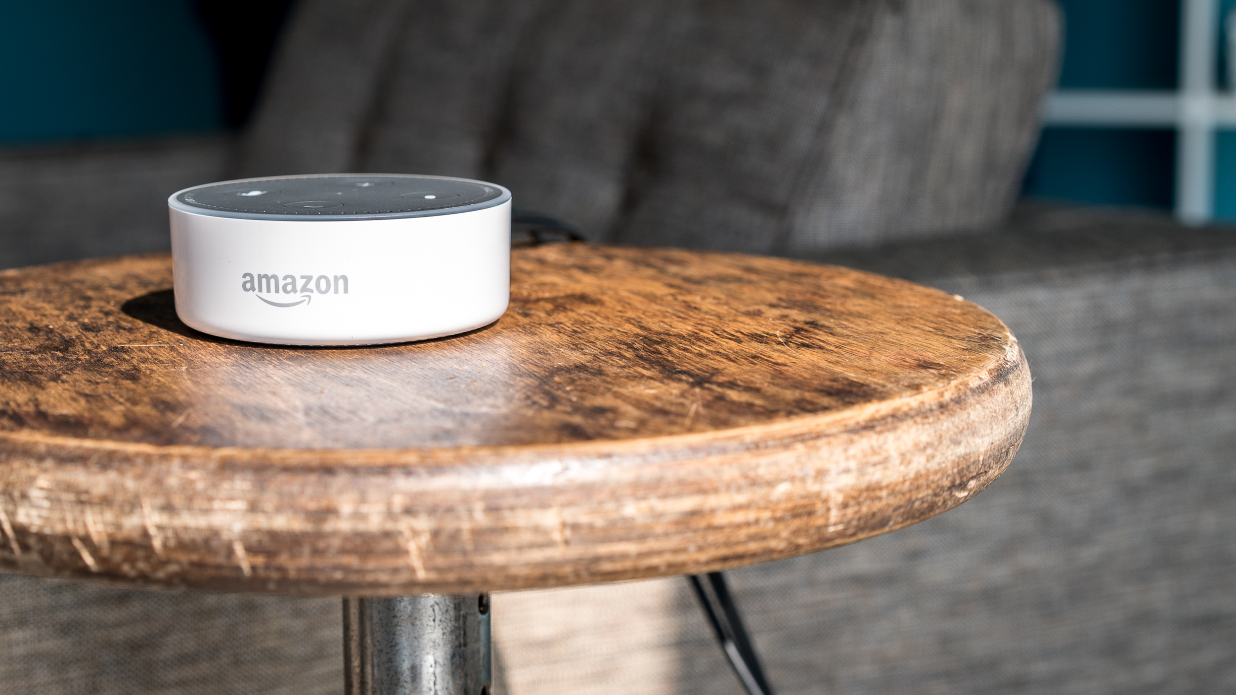 The Amazon Echo Dot in its new fetching white guise.