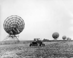 Five dishes of the Cambridge radio telescope, back in the 1970s.
