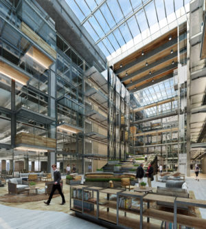 An artist's render of what the boiler room atrium will look like.