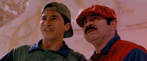 Bob Hoskins as Mario and John Leguizamo as Luigi.