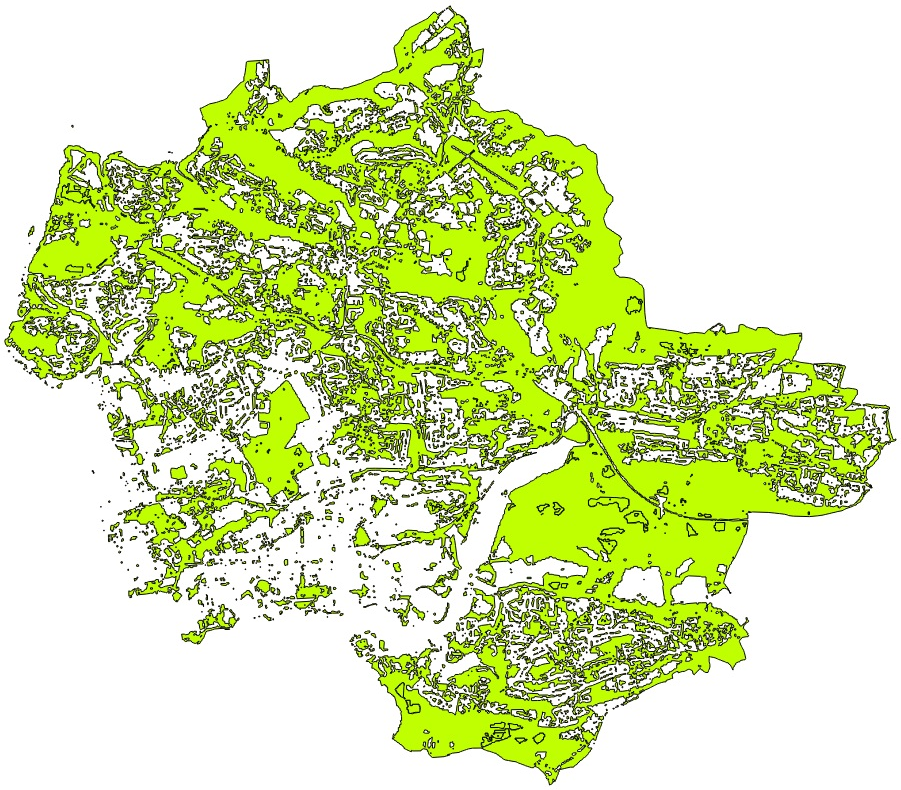 Plymouth's masses of green space, as captured via satellite imagery.