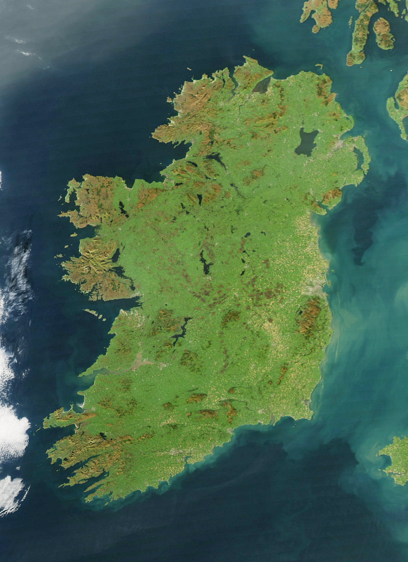 A satellite image of Ireland, for those not familiar with the shape of the country.
