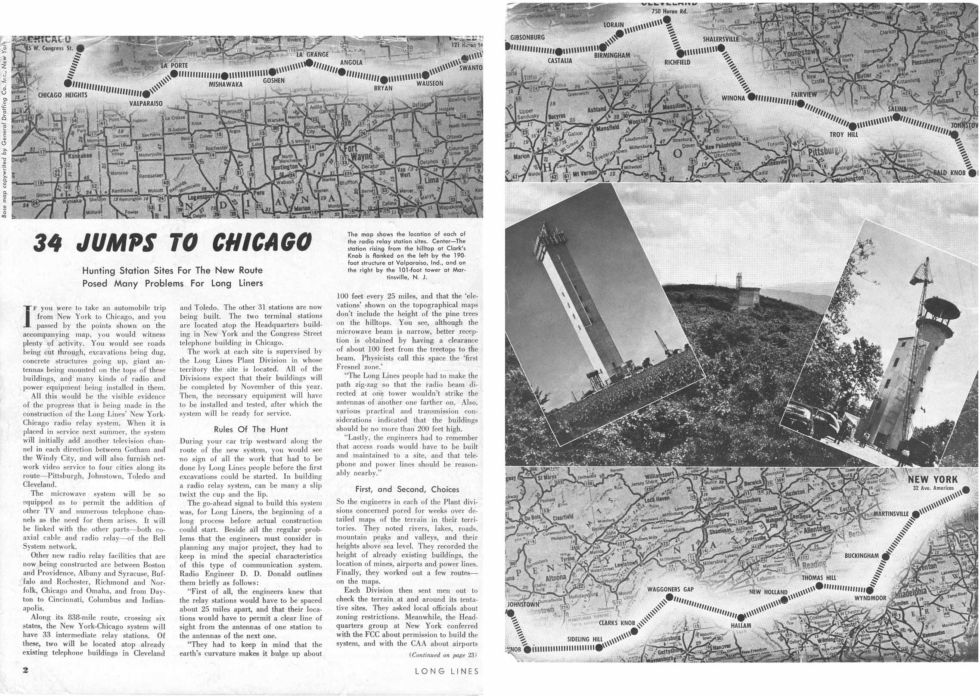 "A 1949 newspaper clipping showing AT&T's ""just 34 hops"" microwave link from New York to Chicago."