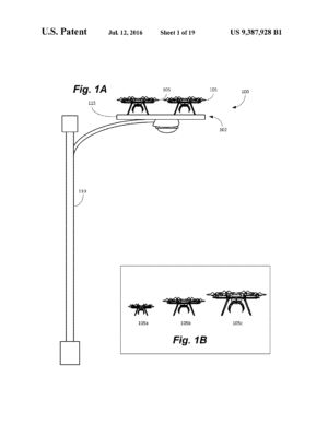 Amazon's drone ecosystem could involve recharging from platforms on lampposts.