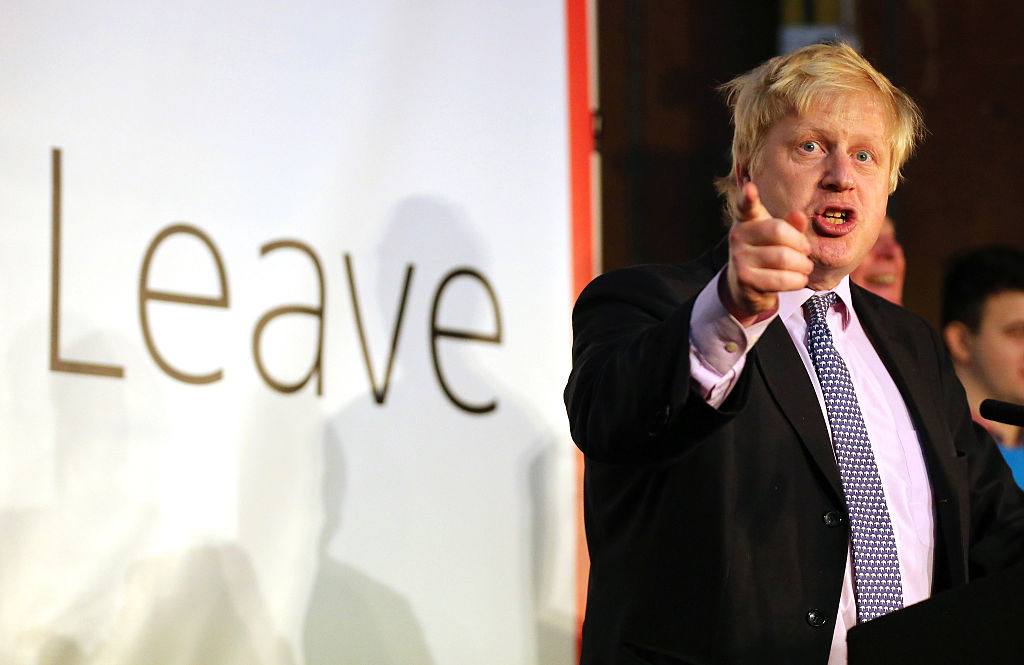 "Boris Johnson addresses supporters during a rally for the ""Vote Leave"" campaign."