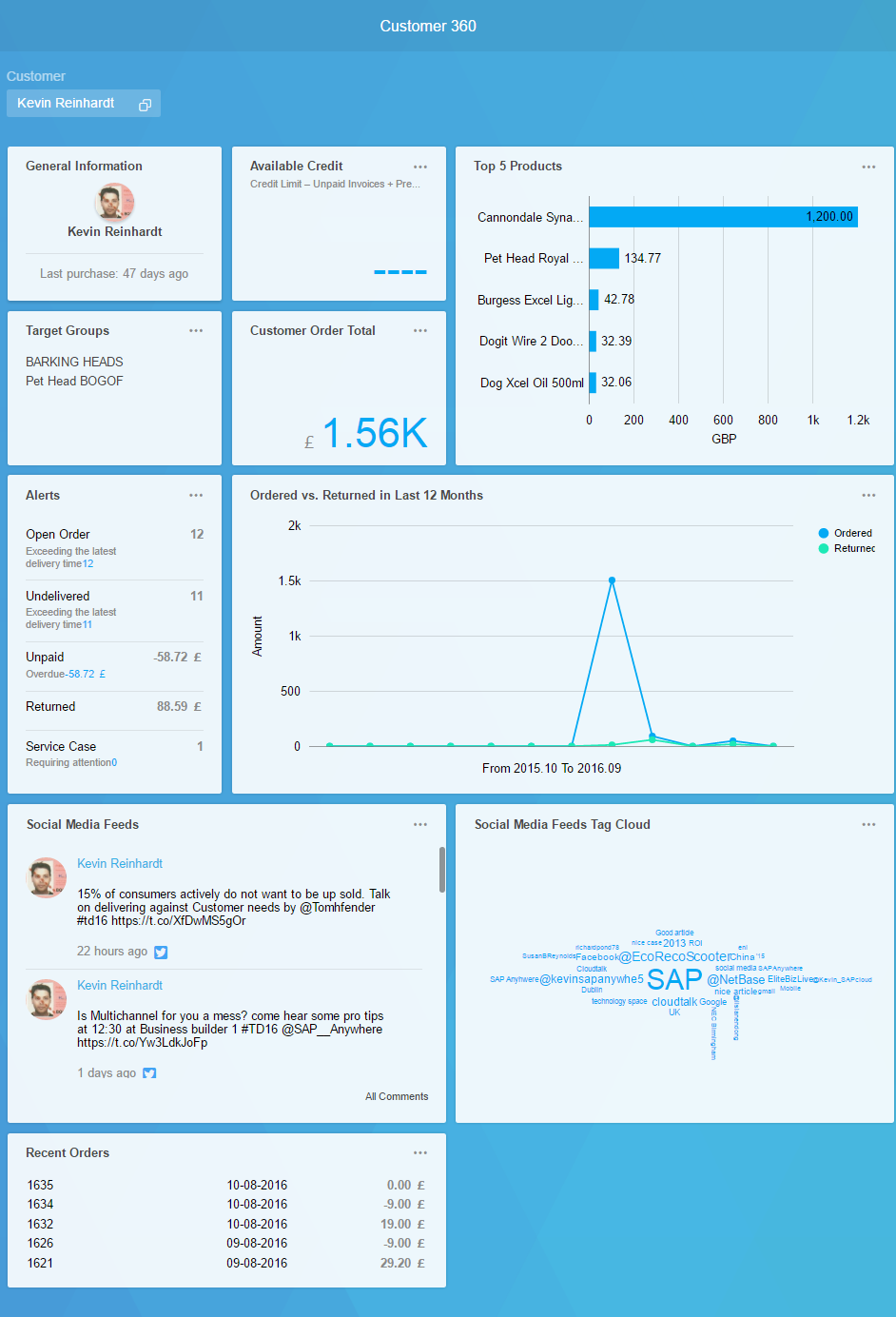 A screenshot of SAP 360 Customer, showing analytics for each of your customers.