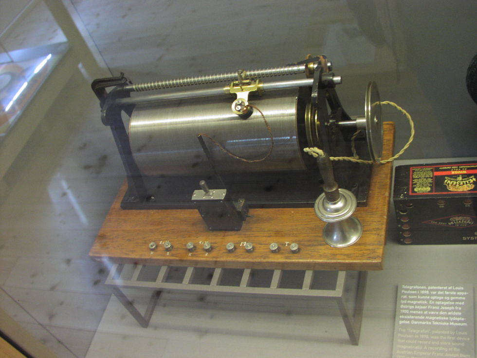 Valdemar Poulsen's magnetic wire recorder, from 1898, at Brede works Industrial Museum in Denmark.