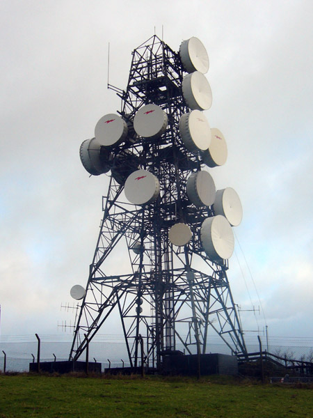 One of BT's many microwave towers, on top of a hill somewhere.